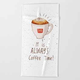 watercolor illy coffee Beach Towel