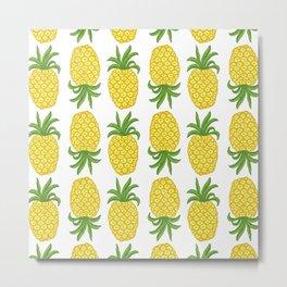Pineapple pattern // summer yellow fruit Metal Print