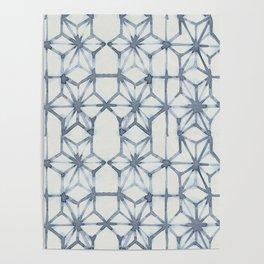 Simply Shibori Stars in Indigo Blue on Lunar Gray Poster