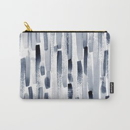 Abstract vertical blue stripes print Carry-All Pouch