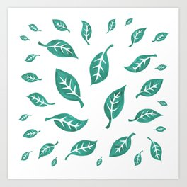 Loose Leaves on Green Art Print
