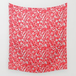 NSFW Red Kinky S&M Pattern Wall Tapestry
