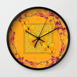 Golden Butterflies Pattern Purple-Pink Orchids Gold Art Wall Clock