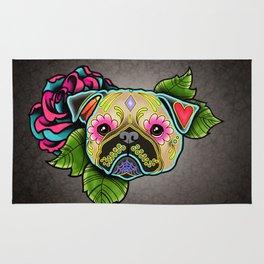 Pug in Fawn - Day of the Dead Sugar Skull Dog Rug