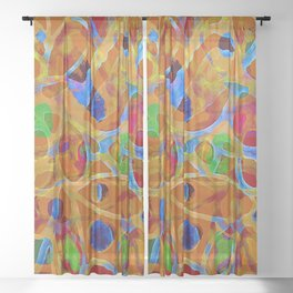 Orange Blue Green Color Blob Abstract Sheer Curtain