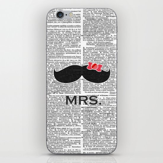"""Mrs. Mustache"" Dictionary Page – Original Digital Art Print iPhone & iPod Skin"