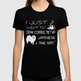 Drink Coffee And Pet Japanese Spitz Funny Gift Shirt T-shirt