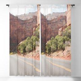 Road Trough Zion National Park Photo | Colors Of Utah Landscape Art Print | USA Travel Photography Blackout Curtain