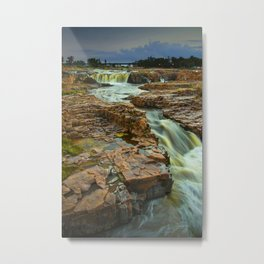 Cascading Waterfalls photographed at dusk in Falls Park Sioux Falls Metal Print