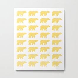 Gold Bears - foil glitter sparkle gold pattern print bear golf golfing nature trendy hipster sports Metal Print