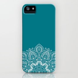 Flower Mandala in White on Elegant Teal iPhone Case