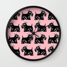 Scottie Dogs Pink & Black Pattern Wall Clock
