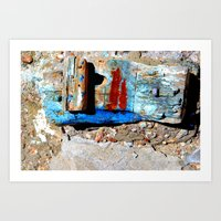 colour boatwood by the sea Art Print