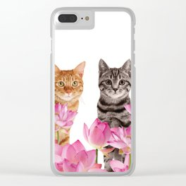 Red and Tiger cat in Lotos Flower Field Clear iPhone Case