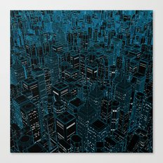 Night light city / Lineart city in blue Canvas Print