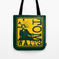 tom waits Tote Bags featuring Tom Waits by Silvio Ledbetter