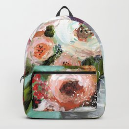Peach and White Roses Backpack