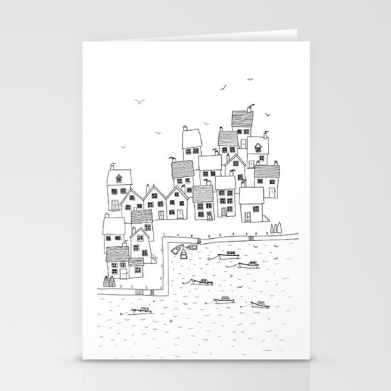 Harbour sketch Stationery Cards