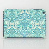 bedding iPad Cases featuring Botanical Geometry - nature pattern in blue, mint green & cream by micklyn