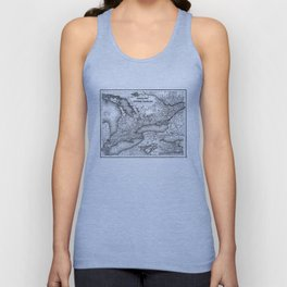 Vintage Map of Ontario (1857) BW Unisex Tank Top