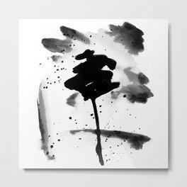 Black Splash Ink Wash Metal Print