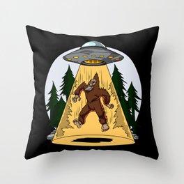 Alien Abduction Bigfoot UFO Throw Pillow