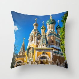 Russian Orthodox Cathedral, Nice France Throw Pillow