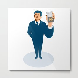 businessman secret agent showing id card badge wallet Metal Print