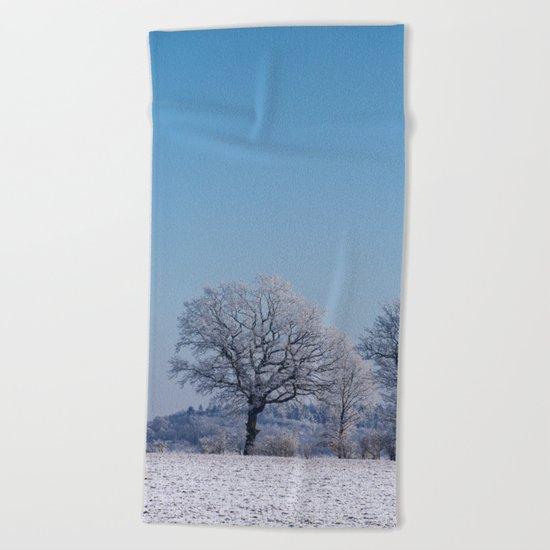 winter walk rural snow landscpape north Germany Beach Towel