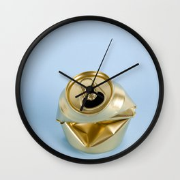 Crushed gold can blue Wall Clock