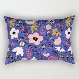 Fantasy flowers on blue Rectangular Pillow