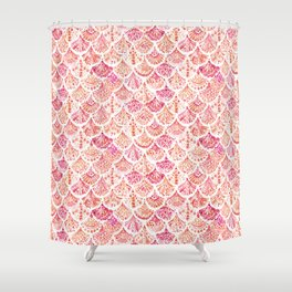 CORAL CAMO Mermaid Watercolor Fish Scales Shower Curtain