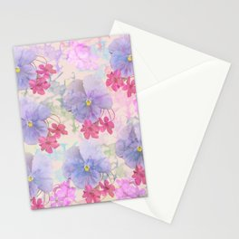 Painterly purple pansies and pink Oxalis Stationery Cards