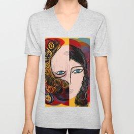 Bipolar portrait Unisex V-Neck