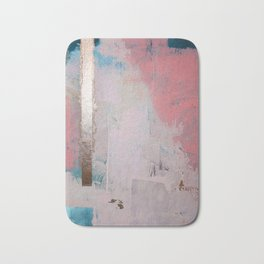 Morning Light: a minimal abstract mixed-media piece in pink gold and blue by Alyssa Hamilton Art Bath Mat