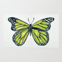 lime Area & Throw Rugs featuring Lime Butterfly by Cat Coquillette