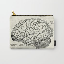 Vintage medical illustration of the human brain Carry-All Pouch