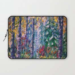 Deep in the Woods - One of the best of my forest path oil paintings with a palette knife. Laptop Sleeve