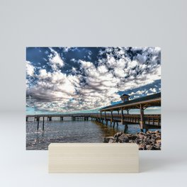 Pier Under Gathering Clouds Mini Art Print
