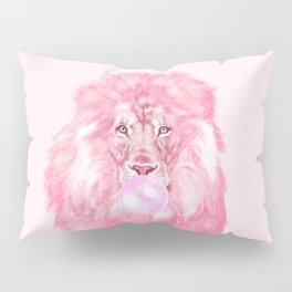 Lion Chewing Bubble Gum in Pink Pillow Sham