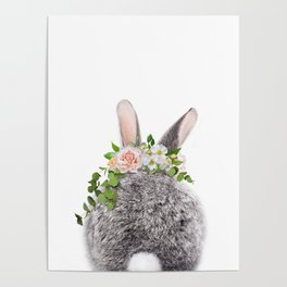 Bunny Tail, Grey Baby Rabbit, Bunny With Flower Crown, Baby Animals Art Print By Synplus Poster