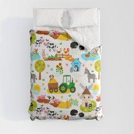 Cute Barnyard Farm Animals Pattern Comforters