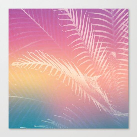 Gradient Tropical leaves Canvas Print