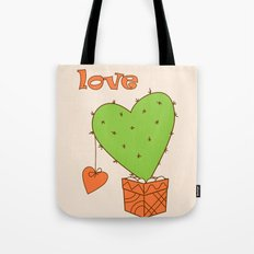 green cactus-heart with love Tote Bag