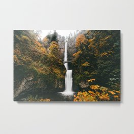 Multnomah Falls Autumn Leaves Metal Print