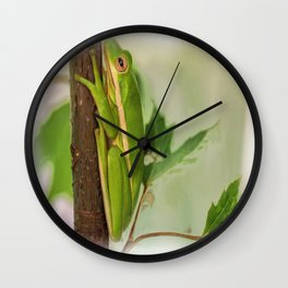 Painted Green Tree Frog Wall Clock