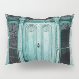 Turquoise Door Photography Pillow Sham