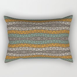 Mosaic Wavy Stripes in Olive, Terracotta, Taupe and Brown Rectangular Pillow