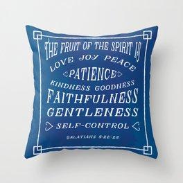Galatians 5 v22-23 - Typographic Bible Verse (blue) Throw Pillow