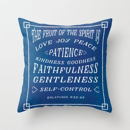 Galatians 5 v22-23 - Typographic Bible Verse (blue) Throw Pillow